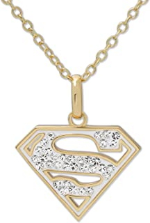 DC Comics Women's Jewelry Superman Yellow Plated Brass Swarovski Crystal Logo Pendant 18