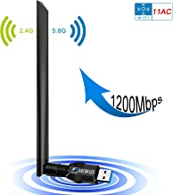 ANEWKODI Wireless USB 1200Mbps USB WiFi USB 3.0 Dual Band (2.4GHz/300Mbps + 5.8GHz/867Mbps) 802.11ac/b/g/n WiFi Adapter for PC/Desktop/Laptop, Support Windows 10/8.1/8/7/XP, Mac OS