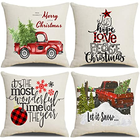 Lanpn Christmas 26x26 Throw Pillow Covers Decorative Outdoor Farmhouse Merry Christmas Xmas Pillow Shams Cases Slipcovers Cover Set Of 4 Couch Sofa Home Kitchen