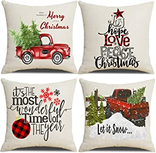Lanpn Christmas 20x20 Throw Pillow Covers, Decorative Outdoor Farmhouse Merry Christmas Xmas Pillow Shams Cases Slipcovers Cover Set of 4 Couch Sofa
