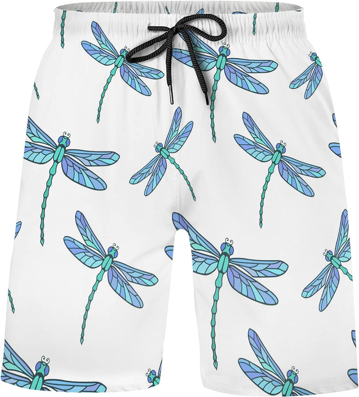 Turquoise Blue Dragonfly Animal Swim Trunks Boys Bathing Suits for Kids Swimwea Swim