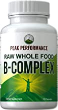 Raw Whole Food Vegan B Complex Supplement. Best B-Complex with Vitamin B1, B2, B3, B5, B6, B7, B9 and B12. Vitamins Plus 25+ Raw Whole Food Fruits and Vegetables. 90 Capsules. Energy + Stress
