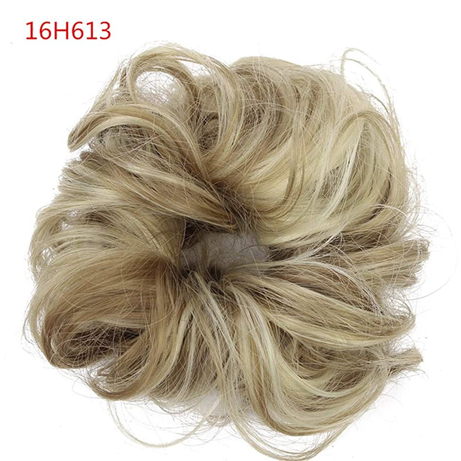 Synthetic Fake Hair Bun Chignons Hairpiece For Women Elastic Scrunchies Hair Piece Bun Hair Tail Updo Afro Ponytail Accessory,16H613 Dirty Blond,