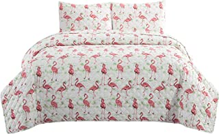 ARTALL 3 Piece Printed Quilt Coverlet Set Full/Queen Size 86x86 with 2 Shams Lightweight Design for Spring and Summer Microfiber Bedspread Sets, Flamingo Pattern