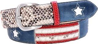 ESPERANTO Cintura in Pitone o cuoio unisex 4 cm - Bandiera USA in 2 varianti