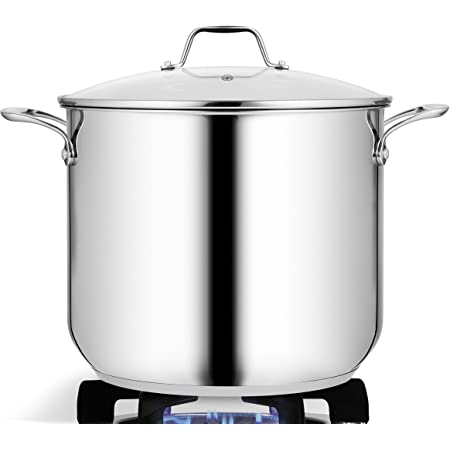 15-Quart Stainless Steel Stock Pot - 18/8 Food Grade Stainless Steel Heavy Duty Induction - Large Stock Pot, Stew Pot, Simmering Pot, Soup Pot with See Through Lid, Dishwasher Safe - NutriChef NCSP16