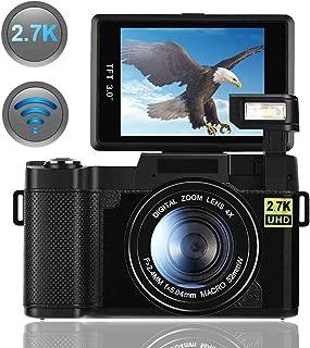 Digital Camera, Vlogging Camera for YouTube 2.7K 24.0MP Ultra HD WiFi Camera 3.0 Inch 180 Degree Rotation Flip Screen Retractable Flashlight