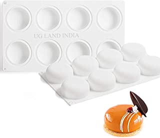 UG LAND INDIA 8 Cavity 3D Stone Round Silicone Baking Mold for Mousse Cake, Silicone Molds for Baking Cakes, French Desser...