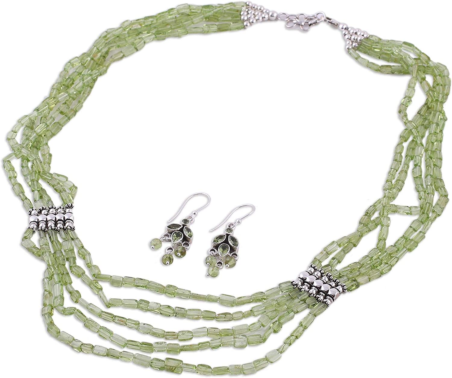 NOVICA Multi-Gem Peridot .925 Sterling OFFicial Shipping included Jewelry Set Beaded Silver