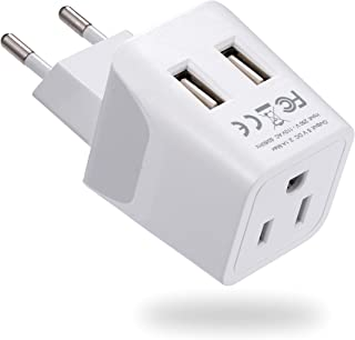 Turkey, Egypt, Iceland Travel Adapter Plug by Ceptics with Dual USB – Type C..