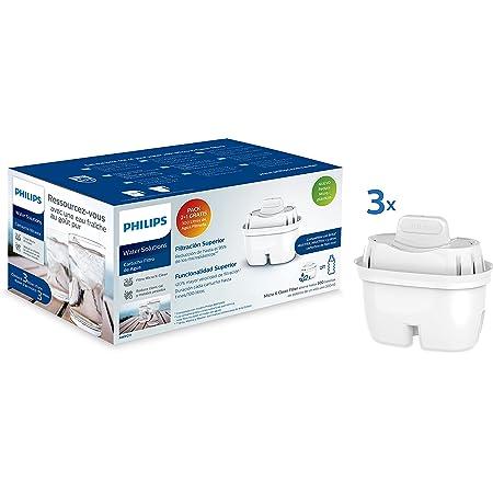 Phillips - AWP211 - Filtre à eau Micro X Clean - Cartouches pour filtration d'eau - Compatible avec les carafes Philips et principales marques - Cartouche Oval - Pack 2+1