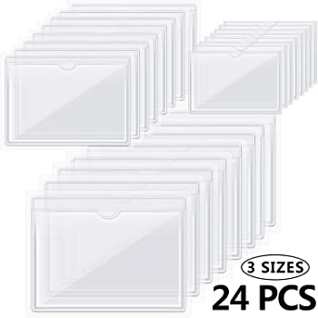 24 Pieces Self-Adhesive Label Holder Pockets Index Card Pockets Adhesive Business Card Holders for Organizing and Protecting Cards, 3 Sizes