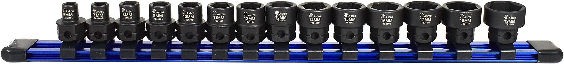 """Soquetes Nano Impact de perfil baixo Astro Tools 78314 14 peças 3/8"""" - métrico"""