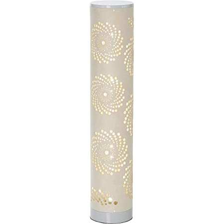 LED Stehlampe Lichtsäule mit samtiger Textil Oberfläche und Stanzmuster Höhe ca. 64cm warmweißes Licht stufenlos dimmbar (Samt Creme Windrose)