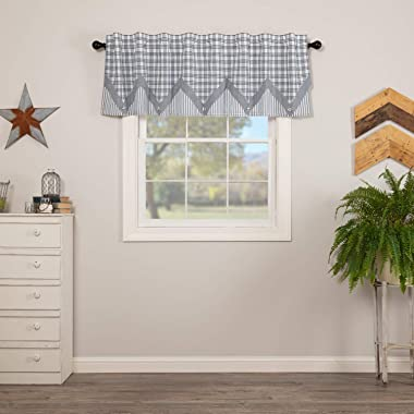 VHC Brands Farmhouse Kitchen Sawyer Mill Rod Pocket Cotton Hanging Loops Pointed Buttons Chambray Plaid 20x72 Curtain, Valanc