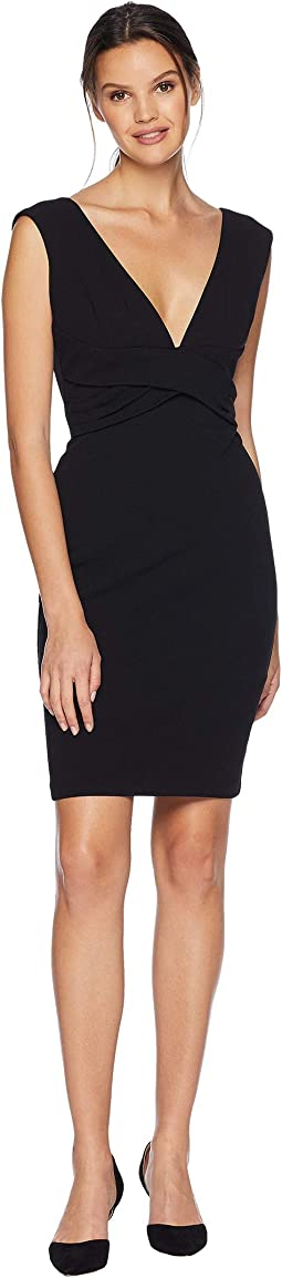 Scuba Crepe Sheath Dress With Deep V