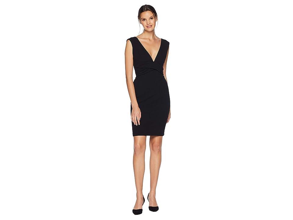 Bebe Scuba Crepe Sheath Dress With Deep V (Black) Women