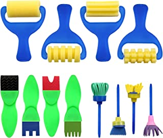 Kids Paint Brush, YGDZ 12 Pack Early Learning Mini Flower Sponge Painting Brushes, Washable Foam Roller Craft Sponge Paint...