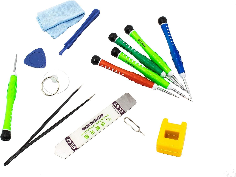 YIDA Kit de Reparación de 14 Piezas para Dispositivos Móviles. Herramientas Destornillador de Precisión para Reparar iPhone, iPad, iPod Touch, Samsung, Xiaomi, Huawei, LG, Motorola.