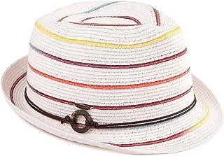 Funky Junque UPF50+ Adjustable Multicolor Woven Pattern Short Brim Fedora Hat