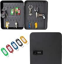 "Houseables Key Lock Box, Lockbox Cabinet, Wall Mount Safe, 8"" W x 10"" L, 48 Tags & Hooks, Black, Metal, Combination Code Locker, Storage Organizer, Outdoor Keybox Closet for Realtor, Real Estate"