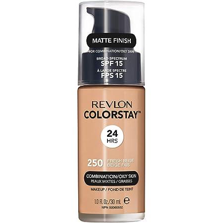 Revlon ColorStay Liquid Foundation Makeup for Combination/Oily Skin SPF 15, Longwear Medium-Full Coverage with Matte Finish, Fresh Beige (250), 1.0 oz