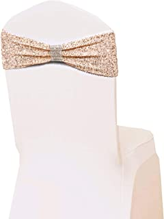 Gibang Bling Bling Chair Sashes Soft Strecth Sequin Material with Rhinestone Bow Tie 10pcs (Rose Gold)