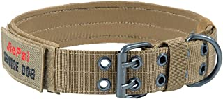 JIEPAI Military Dog Collar Adjustable Nylon k9 Tactical Dog Collar with D-Ring & Buckle Collars for Medium Large Dogs