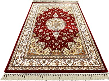 Silk Carpet-Wilton Woven Pure Cotton Silk Wave Silk Traditional Classic Living Room Coffee Table Bedroom Beige Red Brown Gold