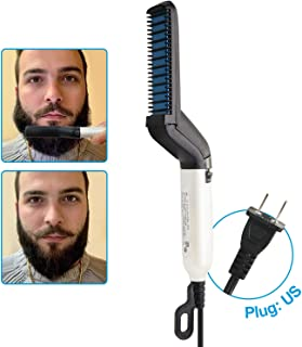 Beard Straightener for Men,15 Seconds Quick Heat Brush, Professional Straightening Comb Styling Tools with Auto Temperature Lock Switch, Indicator light and US Plug
