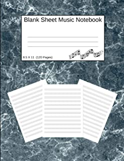 Blank Sheet Music Notebook: Manuscript Staff Paper Blue Marble Design (8.5 X 11) 120 Pages