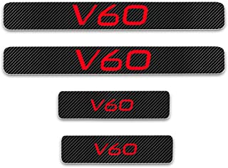 for Volvo V60 Door Sill Protector Reflective 4D Carbon Fiber Sticker Door Entry Guard Door Sill Scuff Plate Stickers Auto Accessories 4Pcs Red