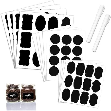 yongding Lot de 72 Etiquettes Tableau Noir Autocollante Stickers bouteille R/éutilisable Amovible Imperm/éable 6 Feuilles 72 Stickers pour Bocal Pot Carton Bo/îte