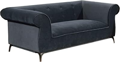 Benjara, Gray Fabric Upholstered Wooden Loveseat with Rolled Armrest