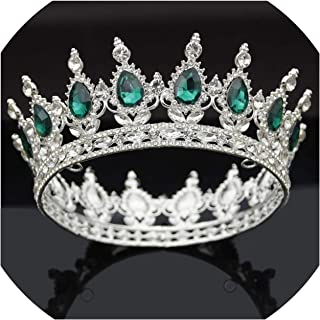 Vintage Queen King Bride Crown Green Crystal Women Head Piece Bridal Tiaras and Crowns Wedding Hair Jewelry Accessories,Silver Green