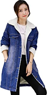 Women's Lapel Button Up Sherpa Fleece Lined Mid-Long Oversized Overcoat Denim Trucker Jacket