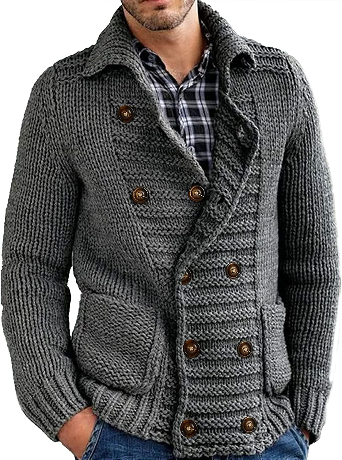 Mens Cable Knit Cardigan Sweater Stand Collar Button Down Loose Fit Long Sleeve Warm Casual Cardigans with Pockets