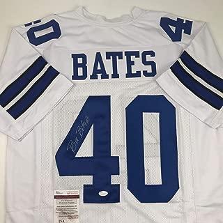 Autographed/Signed Bill Bates Dallas White Football Jersey JSA COA