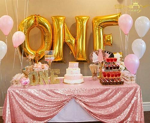 ShinyBeauty Nappe à Paillettes Rose 228,6 x 33 cm - Nappe Rose pailletée - Nappe de fête CT0517