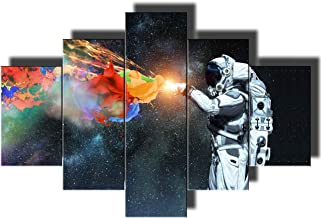 Multi Panel Wall Art Native American Decor NASA Paintings Wall Decorations for Living Room Spaceman Pictures 5 Piece Canvas Artwork Modern Giclee Framed Gallery-wrapped Ready to Hang(60''Wx40''H)