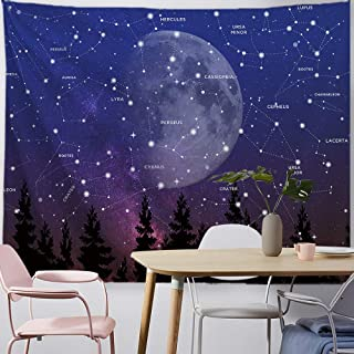 PROCIDA Constellation Tapestry Moon Forest Tree Purple Night Star Sky Wall Hanging Blanket for Dorm College Bedroom Living Room Decor with Nails, 80W x 60L, Purple
