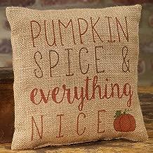Pumpkin Spice and Everything Nice 8 x 8 Burlap Decorative Throw Pillow