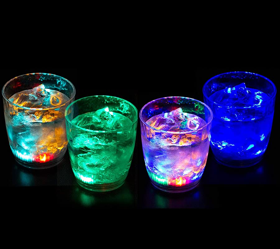 Liquid Activated Multicolor LED Lowball Glasses Fun Light Up Drinking Tumblers 10 Oz Set Of 4
