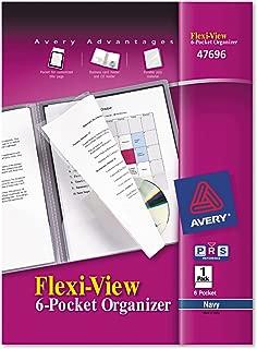 Avery Flexi-View Six-Pocket Organizer, Navy Blue, 1 Organizer (47696)