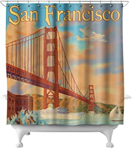 Lantern Press San Francisco, California - Golden Gate Bridge 8515 (74x74 Polyester Shower Curtain)