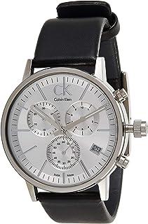 Calvin Klein Men's Silver Dial Leather Band Watch - K7627120