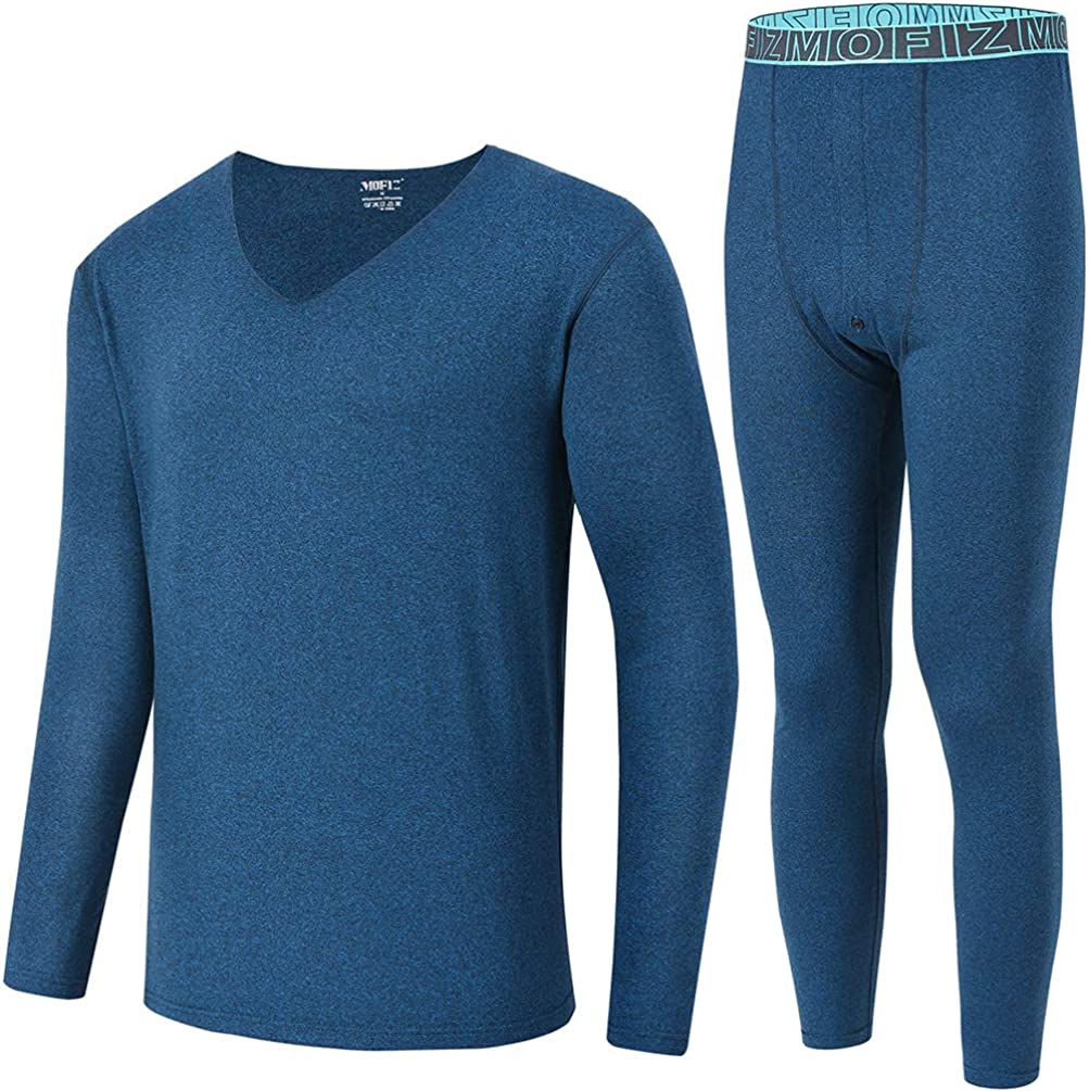 MoFiz Mens Thermals Underwear Warm Top & Bottom Long John Set Loungewear with Fleece Lined Button Fly