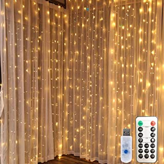 WSgift 300 LED Window Curtain String Lights USB Plug-in 10 Strands Curtain String Lights for Wedding Party Home Bedroom Outdoor Indoor Wall Decorations with Hooks and Remote (9.8X 9.8Ft, Warm White)