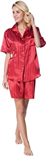Women's Short Sleeve Classical Silky Satin Pajamas, Short Bottom Sleepwear