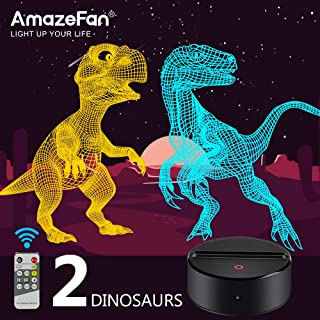Dinosaur Night Light for Kids-3D Dinosaur Lamp 7 Colors Optical Illusion Touch & Remote Control with 2 Acrylic Flats Best Christmas Birthday New Year Gifts for Boys Girls Kids Baby (2 Dinosaurs)
